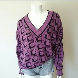 Vintage Andrew St John Purple Geo V-Neck Sweater